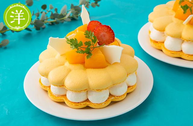 マンゴーのマカロンケーキ